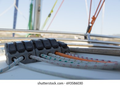 White and yellow ropes on the boat