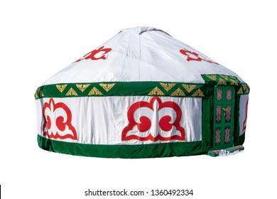 White Yurt, housing of Kazakh nomadic tribes isolated on white background