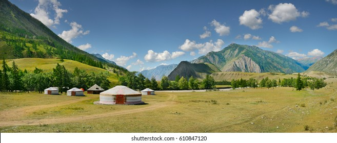 White yurts in the Altai mountains, large panorama
