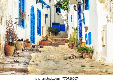 White-blue city of Sidi Bou Said, Tunisia. Eastern fairy tale with a French charm.