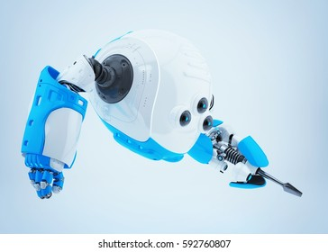 White-blue robotic slogger with screwdriver 3d rendering