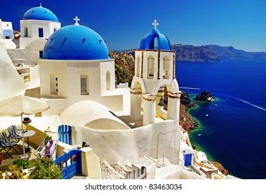 white-blue Santorini - view of caldera with churches