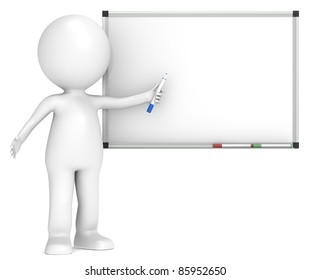 Whiteboard. 3D little human character with a Blank Whiteboard.  Business People series.