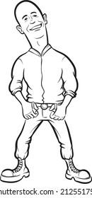 whiteboard drawing - cartoon skinhead man