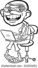 whiteboard drawing - happy geek