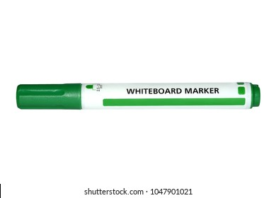 Whiteboard green marker isolated on white background