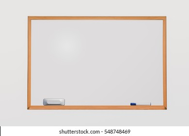 Whiteboard with pen and eraser on isolated background