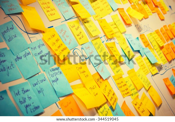 whiteboard post-it colored notes