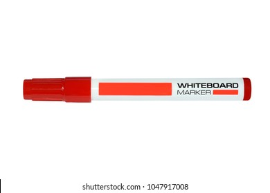 Whiteboard red marker isolated on white background