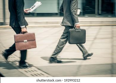 White-collars hurrying to work