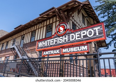 Whitefish, Montana - August 13, 2021: Sign for the Whitefish Depot Amtrak Train musuem for the Great Northern Railway
