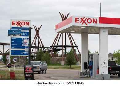 Whitefish, MT/ USA - August 19 2019: Exxon mobile gas station.
