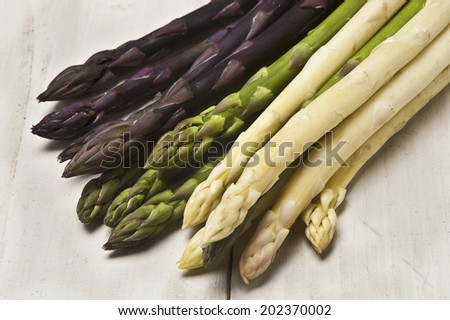 White,Green And Purple Asparagus