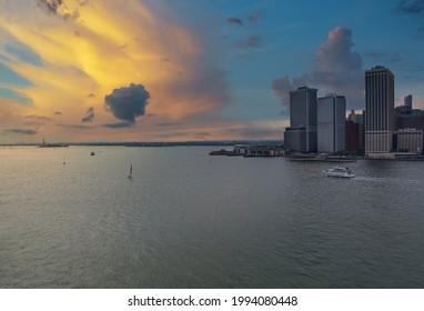 Whitehall Ferry Terminal Docks on New York City Manhattan skyline panorama the way from Staten Island NY NJ USA