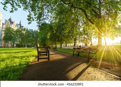 Whitehall gardens at sunrise in London, UK