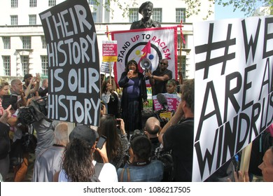 Whitehall, London- UK: 5 May 2018. Hundreds of people joined the March for Windrush at Whitehall on 5th May, to protest against the 'Hostile environment' that has targeted the Windrush generation.