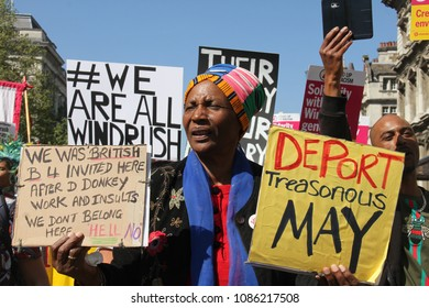 Whitehall, London- UK: 5 May 2018. Hundreds of people joined the March for Windrush at Whitehall on 5th May, to protest against the â??Hostile environmentâ?� that has targeted the Windrush generation.