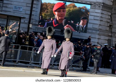 Whitehall, London, UK. November 11th 2018. The 11th hour of the 11th Day. Thousands gather at the Cenotaph London to commemorate the Centenary of the ending of World War One.