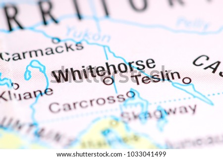Whitehorse Canada On Map Stock Photo Edit Now 1033041499