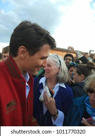 Whitehorse, Canada - Sept. 1, 2017 : Prime Minister Justin Trudeau visited in Whitehorse, Yukon Territory, Canada. Klondike gold rush town.