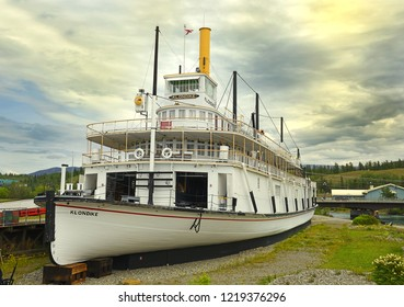 WHITEHORSE, YUKON, CANADA - JULY 20, 2018: Klondike SS Sternwheel steamboat, picture of boat on bank of the river Yukon in Whitehorse – National historic site