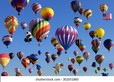 Whitehouse Station, New Jersey, USA - July 24, 2015: Mass ascension launch of over 100  hot air balloons at the New Jersey Ballooning Festival in Whitehouse Station, New Jersey on July 24, 2015.