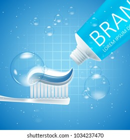 Whitening toothpaste ads. Graphic concept for your design, 3d Illustration