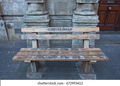 For whites only - a bench in Cape town. Bench with the inscription, as the memory of apartheid and segregation in South Africa.