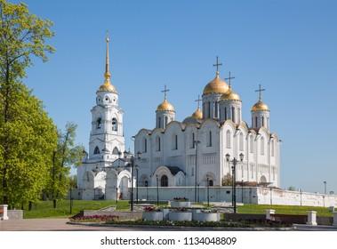 White-stone Dormition Uspensky Cathedral in Vladimir, 12th century, Russia