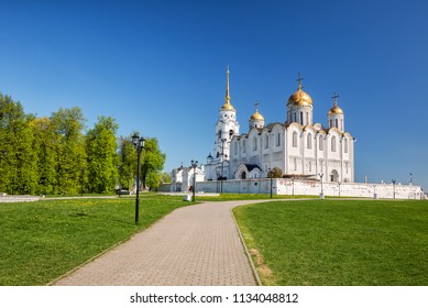 White-stone Dormition Uspensky Cathedral in Vladimir 12th century, Russia