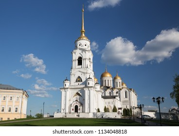 White-stone Dormition Uspensky Cathedral in Vladimir at sunny day, Russia
