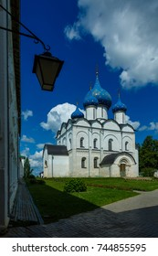The white-stone Nativity Cathedral in Suzdal, Russia. The Nativity Cathedral (1222-1225) is the oldest building in Suzdal.