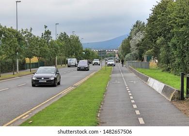 Whitestown way, Tallaght, Dublin, Ireland. 02.08.2019.  Traffic.