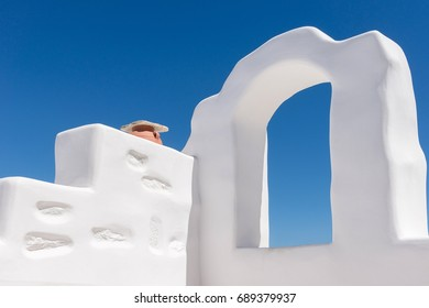 Whitewashed house details in Chora the capital of Amorgos island