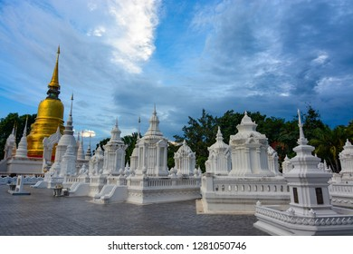 Whitewashed mausoleums at Wat Suan Dok in Chiang Mai, Thailand
