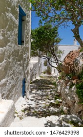 Whitewashed outdoor terrace at Astypalea old town