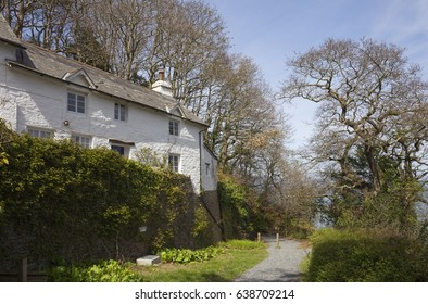 White-washed, stone cottage at Woody Bay near Lynton and Lynmouth, Devon, England