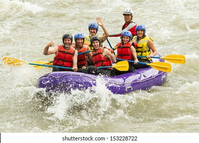 Whitewater Rafting Boat Group Of Seven People