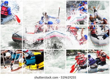Whitewater rafting collage