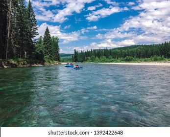 Whitewater Rafting on the Flathead River in Summer in Glacier National Park in Montana