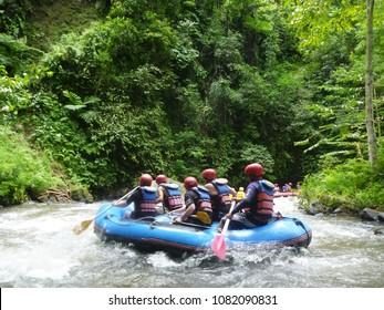 Whitewater rafting. Telaga Waja River Bali, Indonesia.