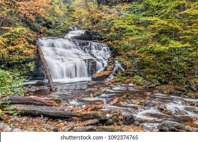 Whitewater tumbles down through the autumn landscape of Mohican Falls, a waterfall in Ganoga Glen at Ricketts Glen State Park, Pennsylvania.