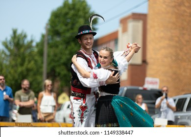 Whiting, Indiana, USA - July 28, 2018 Men and women wearing traditional slovak clothing perform traditional slovak dances at the Pierogi Fest