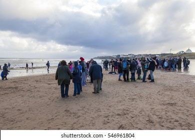 WHITLEY BAY. NORTH TYNESIDE, ENGLAND. JANUARY 01. 2017.  Swimmers take to the cold North Sea for annual New Years Day Swim. January 01, 2017. Whitley Bay.