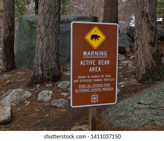 Whitney Portal, Lone Pine California - May 24, 2019; Bear Warning Sign in National Forest Campground