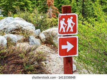 Whitney Portal, Lone Pine California - May 24, 2019; Hiking Trail Sign Showing direction of trail