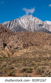 Whitney range, Sierra Nevada mountains seen from the Alabama Hills, California.