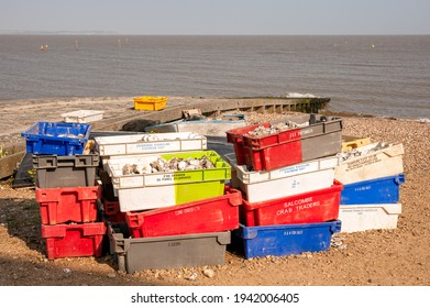 WHITSTABLE, KENT, UK - APRIL 30, 2011:  Colourful Boxes full of Oyster shells on the beach at a oyster shell recycling point - a project to re-stablish oyster beds in the area