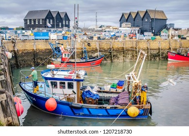 Whitstable, UK - Oct 17 2018. Fishermen return from a day at sea with their  catch of whelks in Whitstable harbour. The harbour was built by the Canterbury and Whitstable Railway Company in 1832