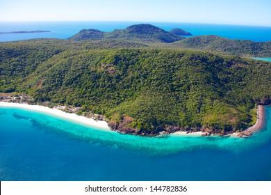 Whitsunday Island aerial with fringing reef